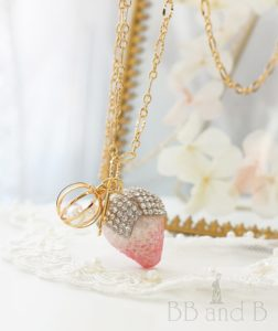 Pastel Pink and Mint Blue Macaron Necklace with Signature Strawberry Charm