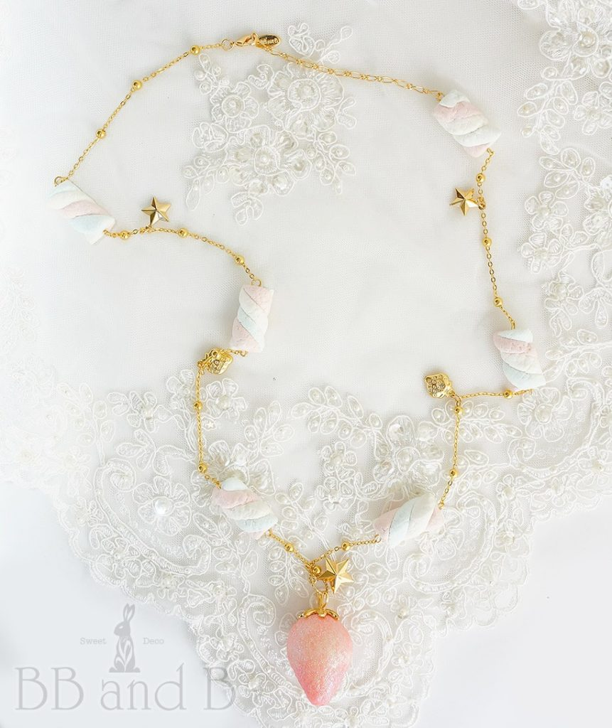 Soft Pink Glitter Strawberry with Cotton Candy Marshmallows on Gold Chain Necklace