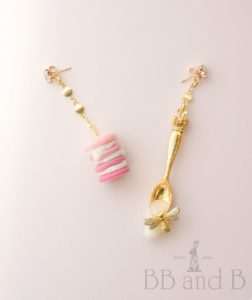 My Sweet Honeybee Macaron Stack Cake Earrings and Golden Spoon with Dripping Sweets by BB and B