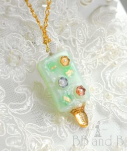 Honeydew Melon Mint Ice Cream Bar Necklace