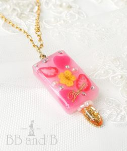 Strawberry Hibiscus Lemonade Ice Cream Bar Necklace