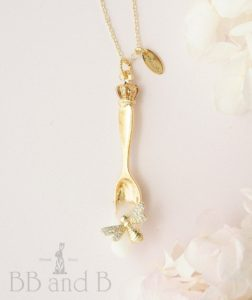 Spoonful of Sweetness BB and B Gold Spoon and Honeybee Necklace