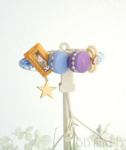 Macaron Deuce in Lavender + Blue and Caramel Bar Seashell Hair Clip