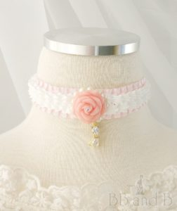 Ruffled Ribbon Choker with Pink Rose and Cat Charm