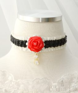 Ruffled Ribbon Choker with Red Rose and Cat Charm