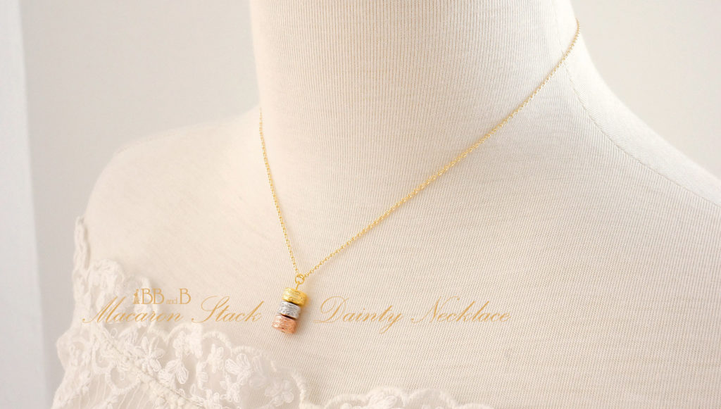 Multi Gold Macaron Stack Dainty Necklace