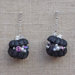 Autumn Pumpkin Jewelry Chest Earrings in Black
