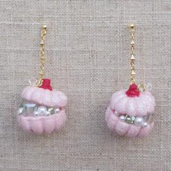 Autumn Pumpkin Jewelry Chest Earrings in Pink