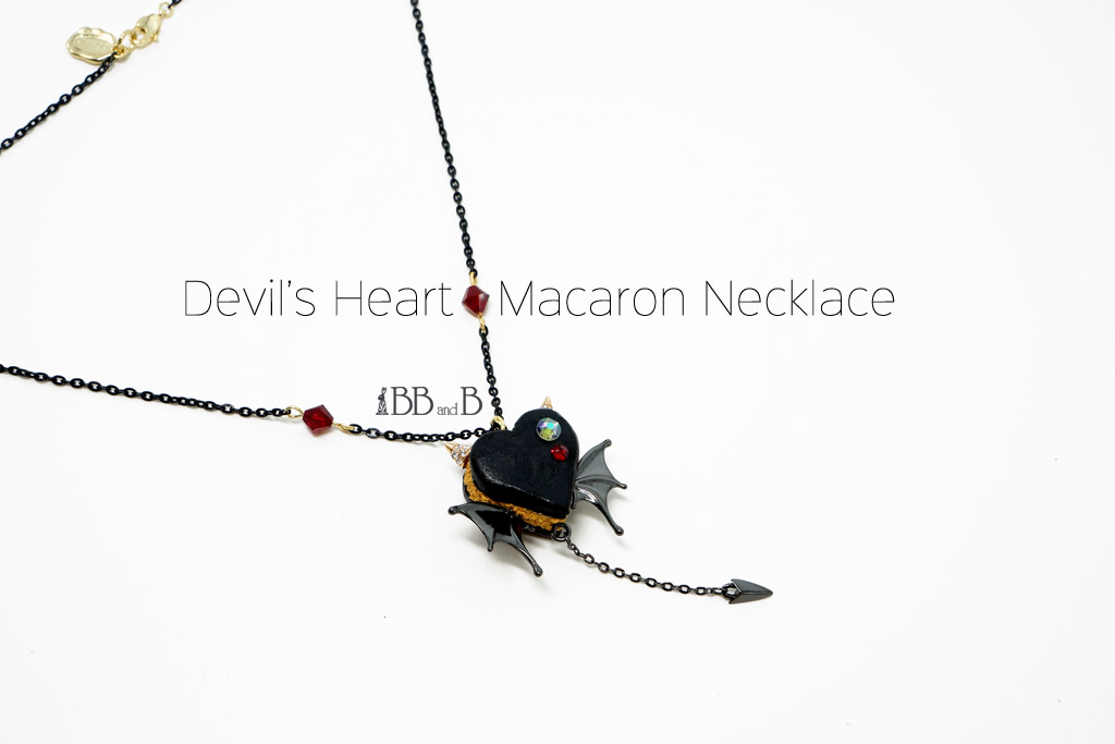 Fake Sweet Devil's Heart Macaron Necklace from BB and B