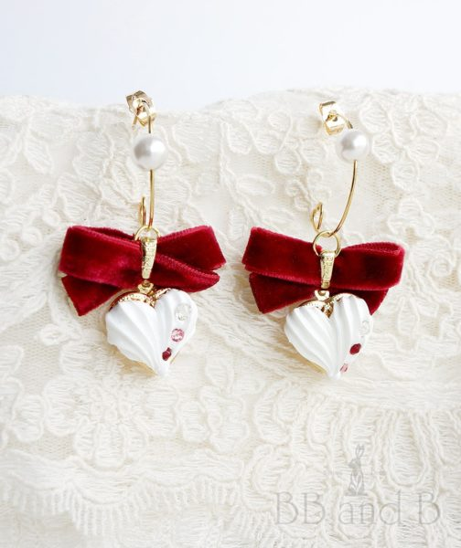 Whip Cream Heart Locket Earrings
