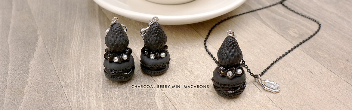 Charcoal Berry Mini Macarons Fake Sweets Macaron Jewelry