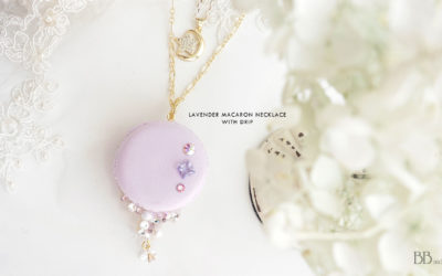 Lavender Macaron Necklace with Drip