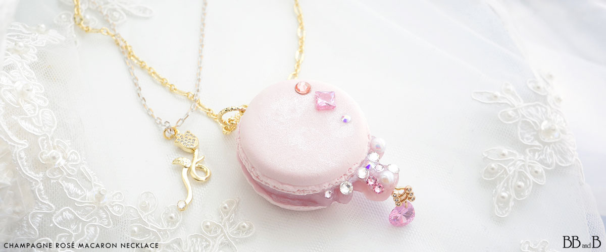 Champagne Rose Macaron Necklace