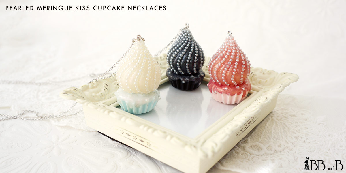 Pearled Meringue Kiss Cupcake Necklaces Fake Sweets Confectionary Jewelry