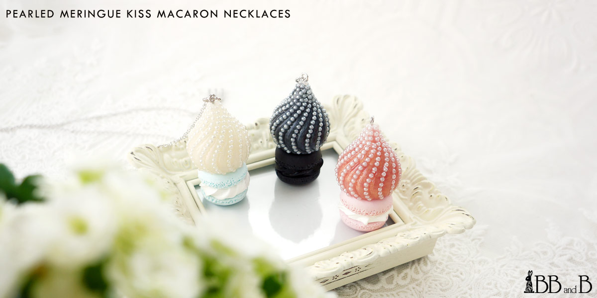 Pearled Meringue Kiss Macaron Necklaces Fake Sweets Confectionary Jewelry