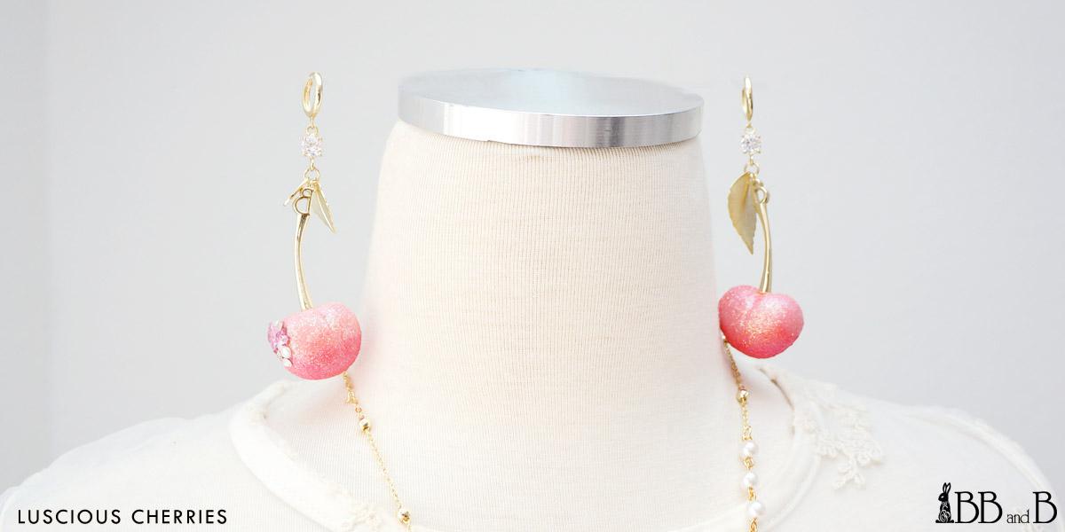 Luscious Cherries Earrings - Fake Sweets Clay Jewelry Earrings