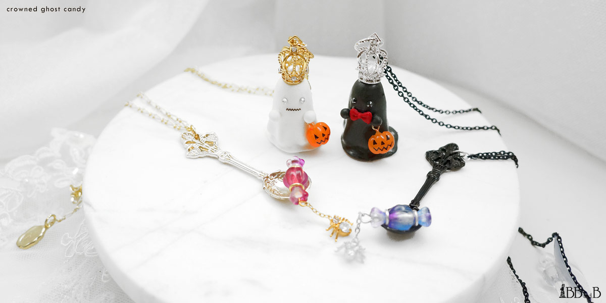 Crowned Ghost Candy Fake Sweets Confectionary Jewelry